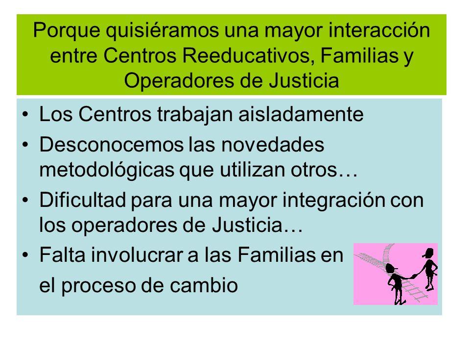 Porque quisiéramos una mayor interacción entre Centros Reeducativos, Familias y Operadores de Justicia Los Centros trabajan aisladamente Desconocemos