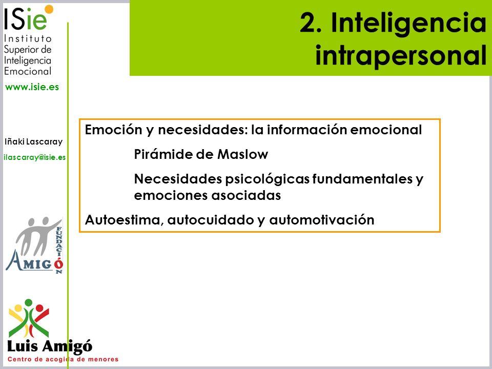 Iñaki Lascaray ilascaray@isie.es www.isie.es 2. Inteligencia intrapersonal Emoción y necesidades: la información emocional Pirámide de Maslow Necesida