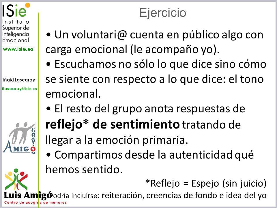 Iñaki Lascaray ilascaray@isie.es www.isie.es Ejercicio Un voluntari@ cuenta en público algo con carga emocional (le acompaño yo). Escuchamos no sólo l
