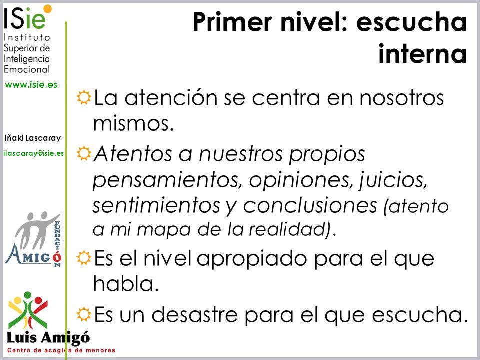 Iñaki Lascaray ilascaray@isie.es www.isie.es Primer nivel: escucha interna La atención se centra en nosotros mismos. Atentos a nuestros propios pensam