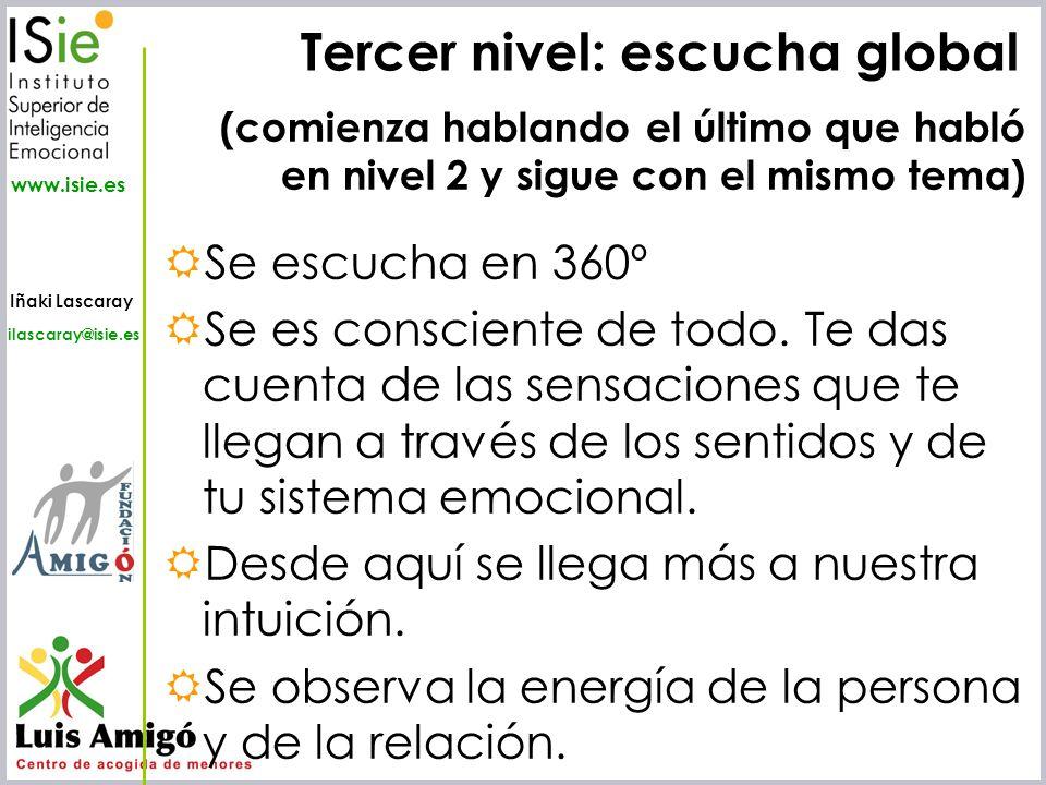 Iñaki Lascaray ilascaray@isie.es www.isie.es Tercer nivel: escucha global Se escucha en 360º Se es consciente de todo. Te das cuenta de las sensacione