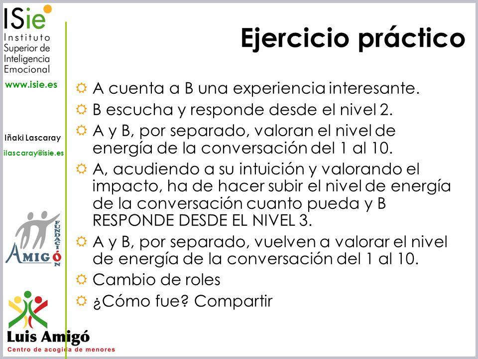 Iñaki Lascaray ilascaray@isie.es www.isie.es Ejercicio práctico A cuenta a B una experiencia interesante. B escucha y responde desde el nivel 2. A y B