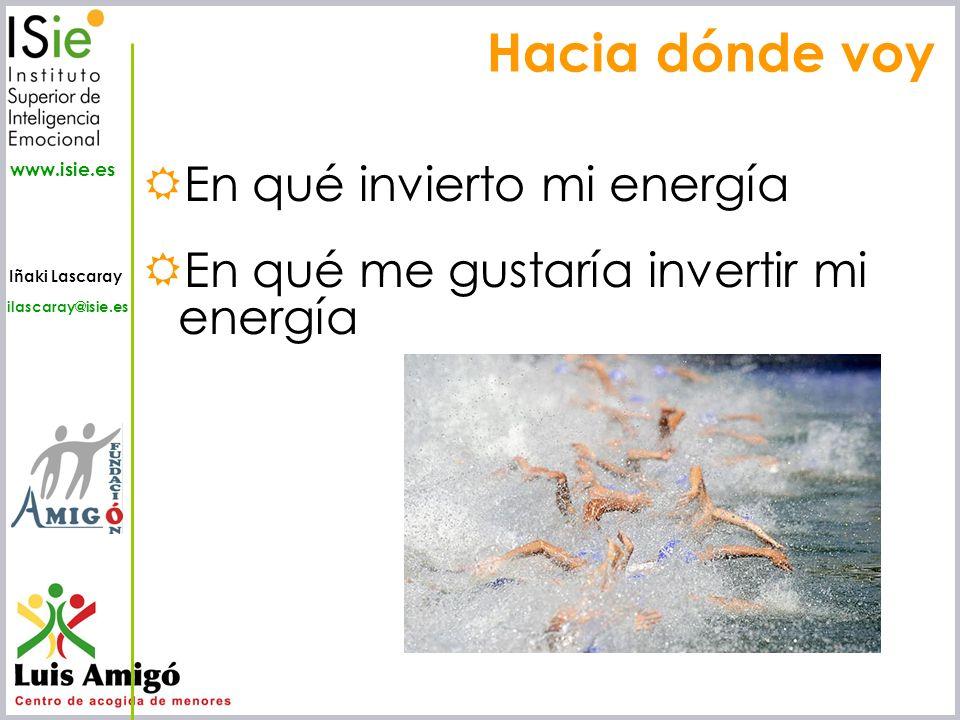 Iñaki Lascaray ilascaray@isie.es www.isie.es En qué invierto mi energía En qué me gustaría invertir mi energía Hacia dónde voy