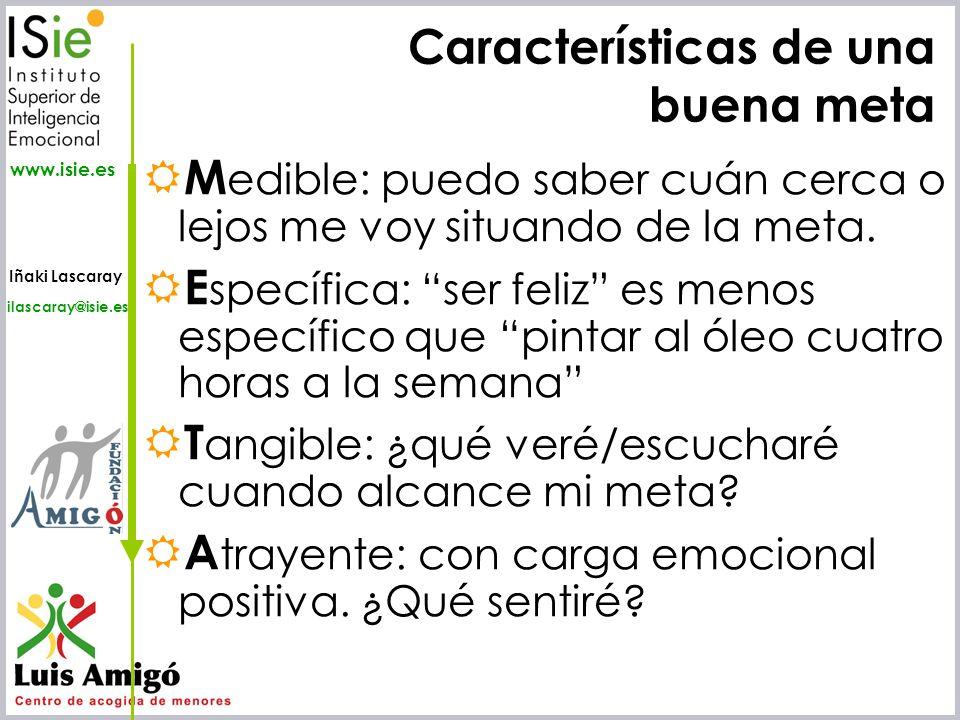 Iñaki Lascaray ilascaray@isie.es www.isie.es Características de una buena meta M edible: puedo saber cuán cerca o lejos me voy situando de la meta. E