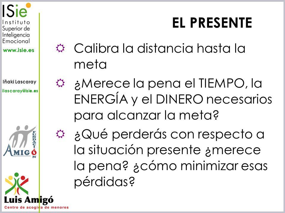 Iñaki Lascaray ilascaray@isie.es www.isie.es EL PRESENTE Calibra la distancia hasta la meta ¿Merece la pena el TIEMPO, la ENERGÍA y el DINERO necesari
