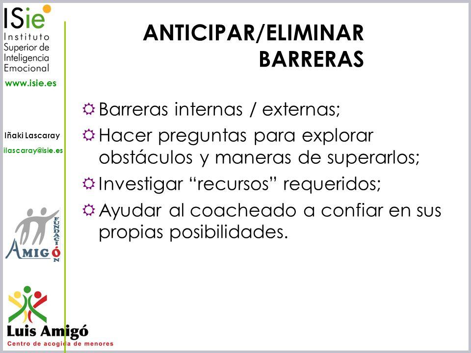 Iñaki Lascaray ilascaray@isie.es www.isie.es Barreras internas / externas; Hacer preguntas para explorar obstáculos y maneras de superarlos; Investiga