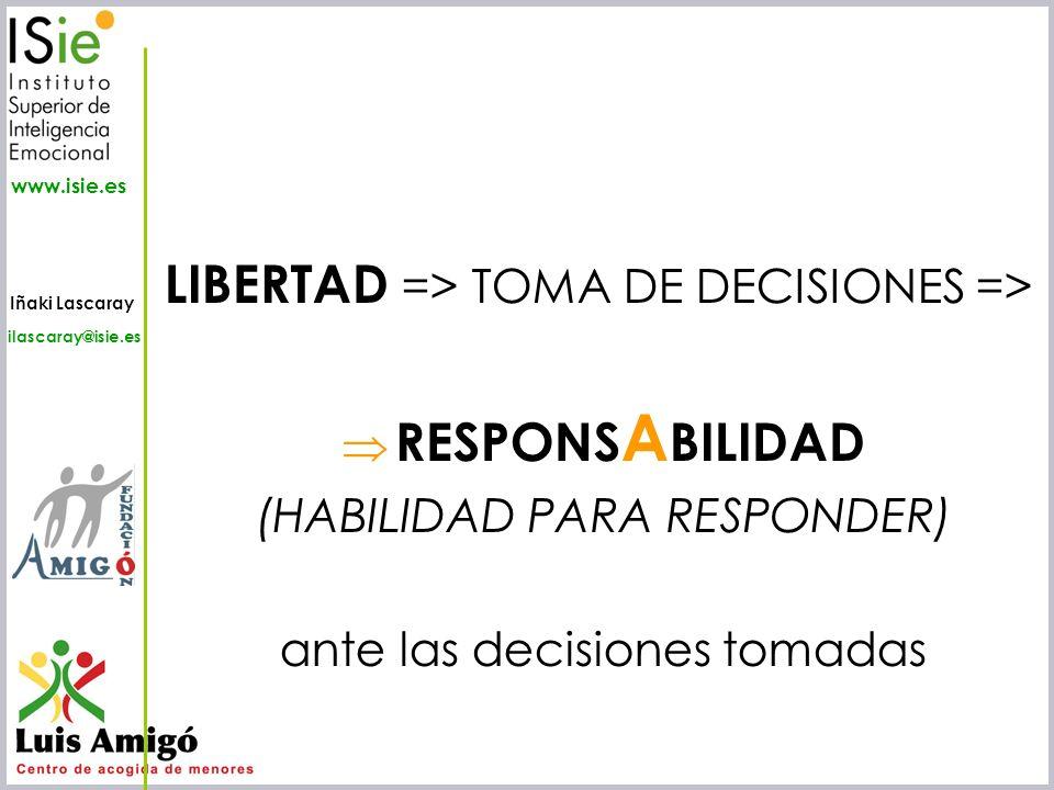 Iñaki Lascaray ilascaray@isie.es www.isie.es LIBERTAD => TOMA DE DECISIONES => RESPONS A BILIDAD (HABILIDAD PARA RESPONDER) ante las decisiones tomada