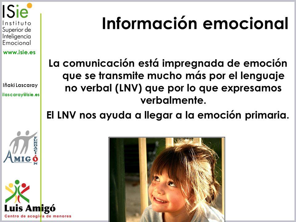 Iñaki Lascaray ilascaray@isie.es www.isie.es Información emocional La comunicación está impregnada de emoción que se transmite mucho más por el lengua