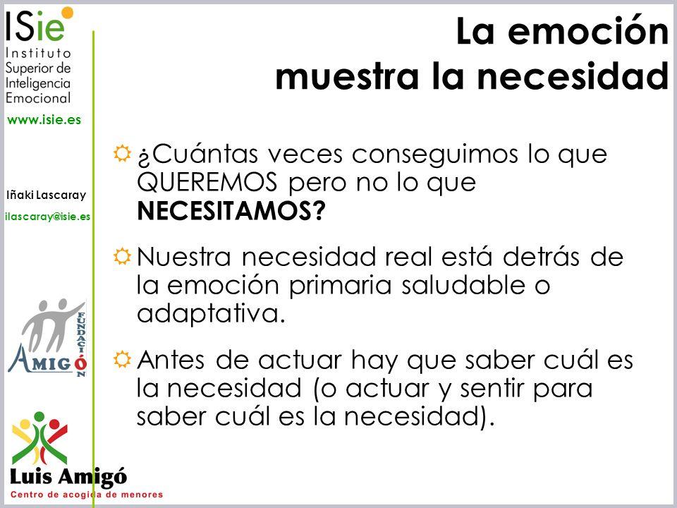 Iñaki Lascaray ilascaray@isie.es www.isie.es La emoción muestra la necesidad ¿Cuántas veces conseguimos lo que QUEREMOS pero no lo que NECESITAMOS? Nu