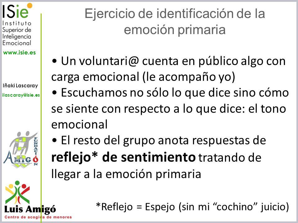 Iñaki Lascaray ilascaray@isie.es www.isie.es Ejercicio de identificación de la emoción primaria Un voluntari@ cuenta en público algo con carga emocion