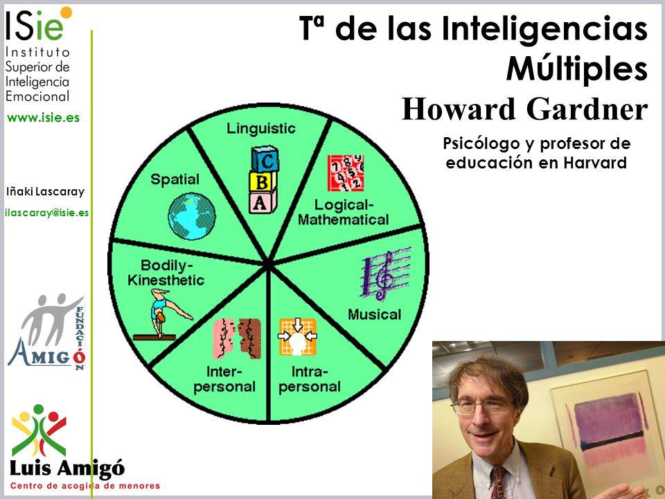 Iñaki Lascaray ilascaray@isie.es www.isie.es Tª de las Inteligencias Múltiples Howard Gardner Psicólogo y profesor de educación en Harvard