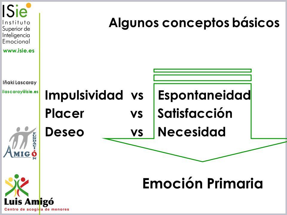 Iñaki Lascaray ilascaray@isie.es www.isie.es Algunos conceptos básicos Impulsividad vs Espontaneidad Placer vs Satisfacción Deseo vs Necesidad Emoción