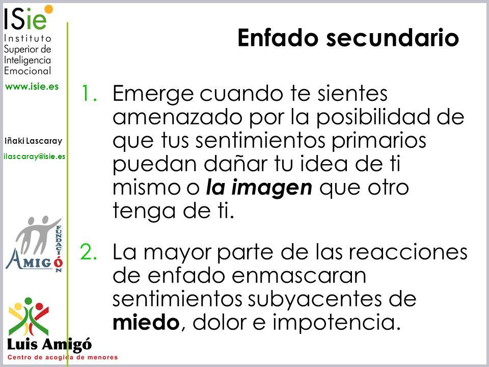 Iñaki Lascaray ilascaray@isie.es www.isie.es 1.Emerge cuando te sientes amenazado por la posibilidad de que tus sentimientos primarios puedan dañar tu