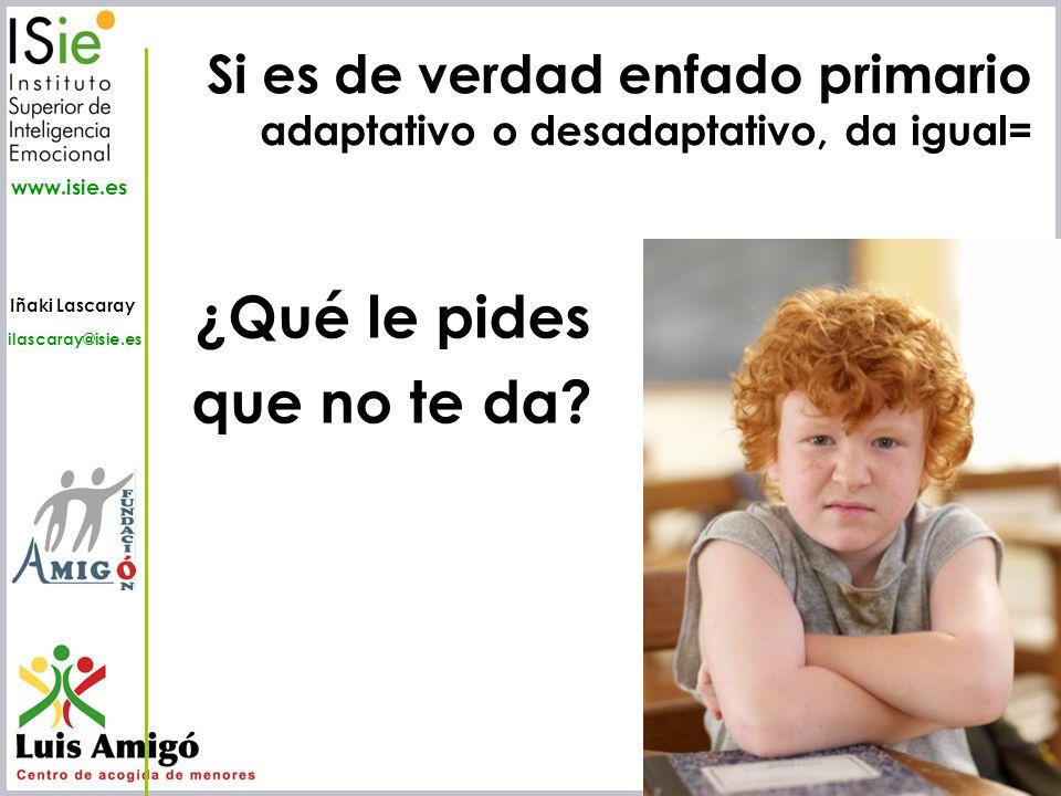 Iñaki Lascaray ilascaray@isie.es www.isie.es ¿Qué le pides que no te da? Si es de verdad enfado primario adaptativo o desadaptativo, da igual=