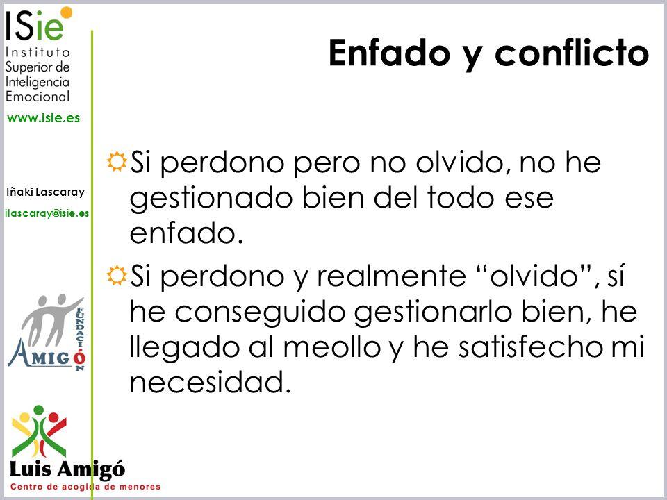 Iñaki Lascaray ilascaray@isie.es www.isie.es Enfado y conflicto Si perdono pero no olvido, no he gestionado bien del todo ese enfado. Si perdono y rea