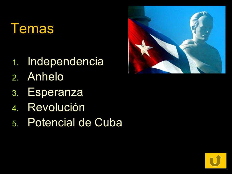 Temas 1. Independencia 2. Anhelo 3. Esperanza 4. Revolución 5. Potencial de Cuba