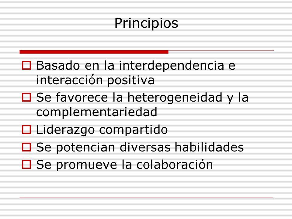 Principios Basado en la interdependencia e interacción positiva Se favorece la heterogeneidad y la complementariedad Liderazgo compartido Se potencian