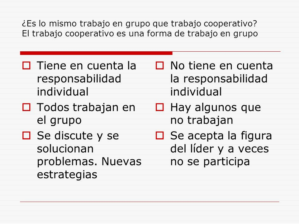 ¿Es lo mismo trabajo en grupo que trabajo cooperativo? El trabajo cooperativo es una forma de trabajo en grupo Tiene en cuenta la responsabilidad indi
