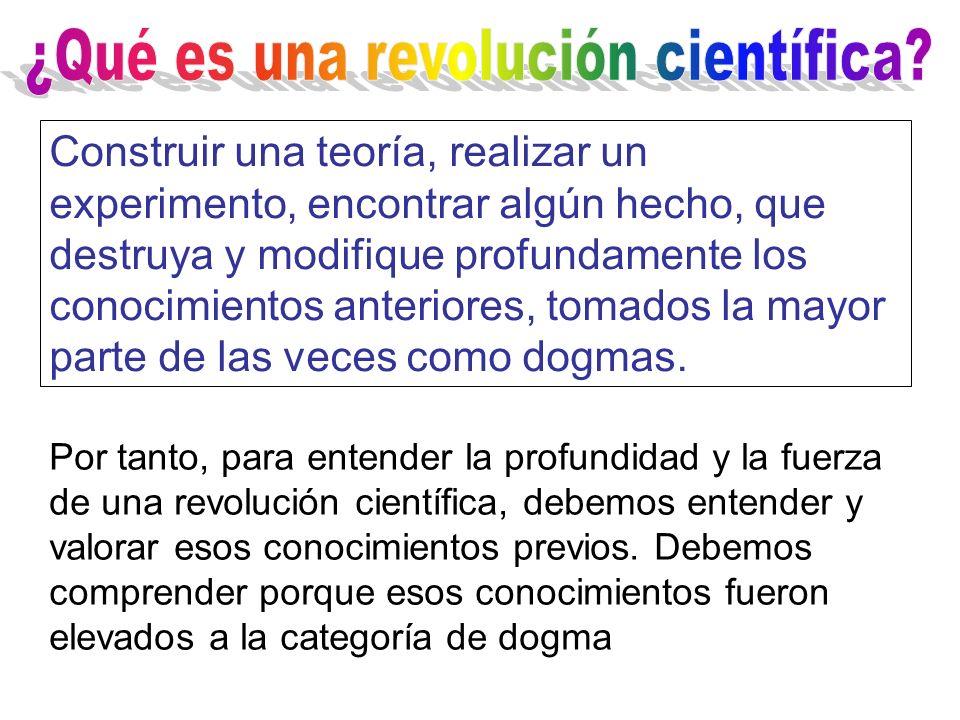 Construir una teoría, realizar un experimento, encontrar algún hecho, que destruya y modifique profundamente los conocimientos anteriores, tomados la