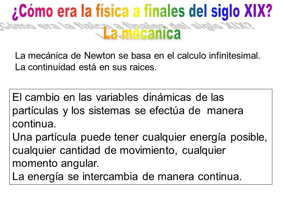 La mecánica de Newton se basa en el calculo infinitesimal. La continuidad está en sus raices. El cambio en las variables dinámicas de las partículas y