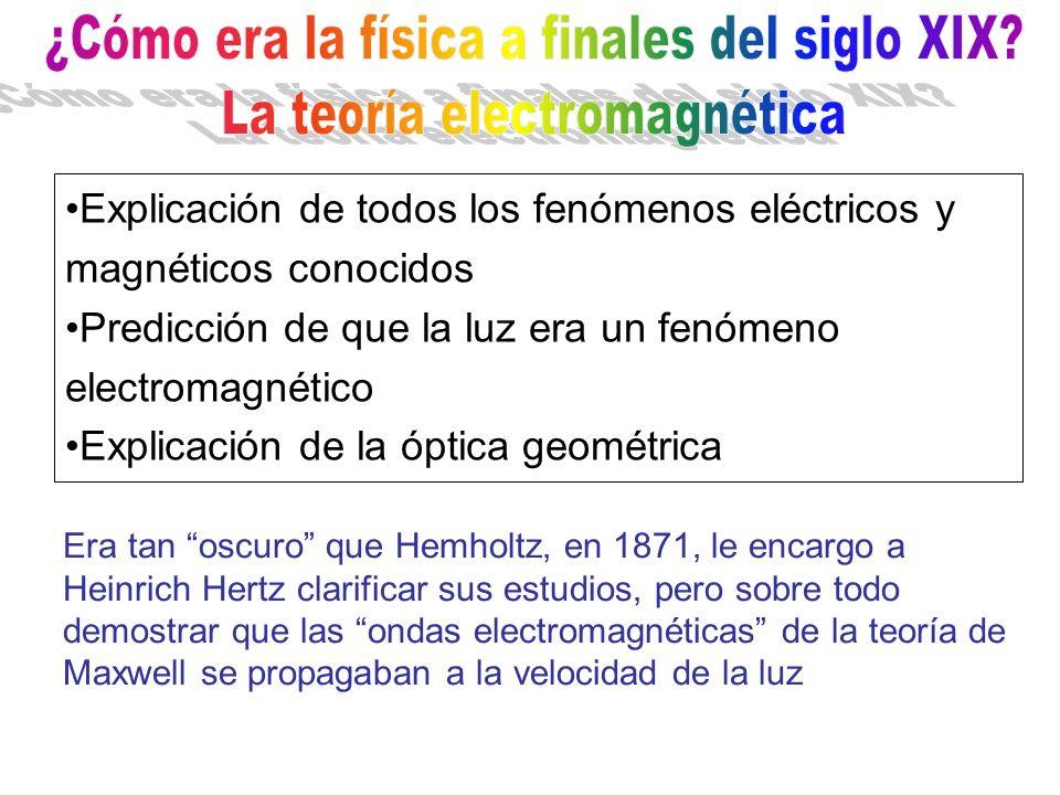 Explicación de todos los fenómenos eléctricos y magnéticos conocidos Predicción de que la luz era un fenómeno electromagnético Explicación de la óptic