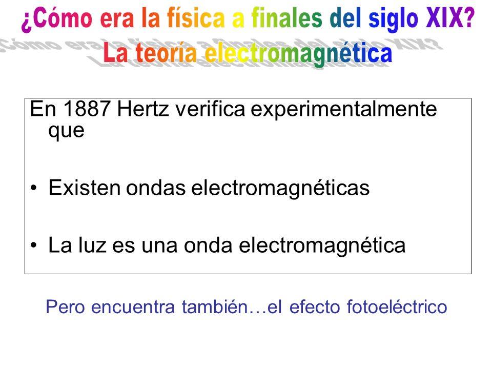 En 1887 Hertz verifica experimentalmente que Existen ondas electromagnéticas La luz es una onda electromagnética Pero encuentra también…el efecto foto