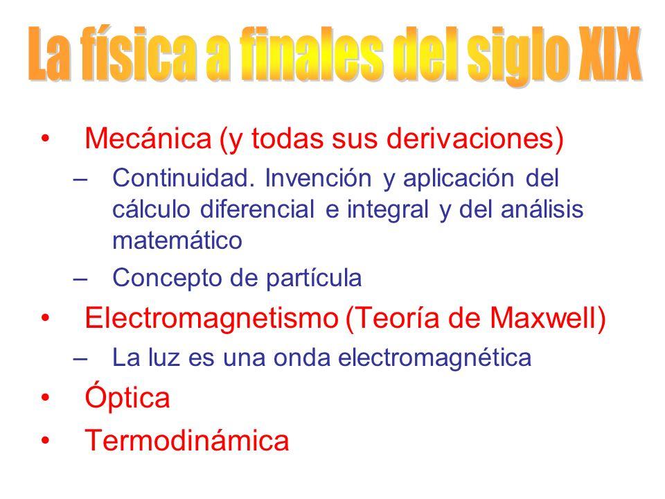Mecánica (y todas sus derivaciones) –Continuidad. Invención y aplicación del cálculo diferencial e integral y del análisis matemático –Concepto de par