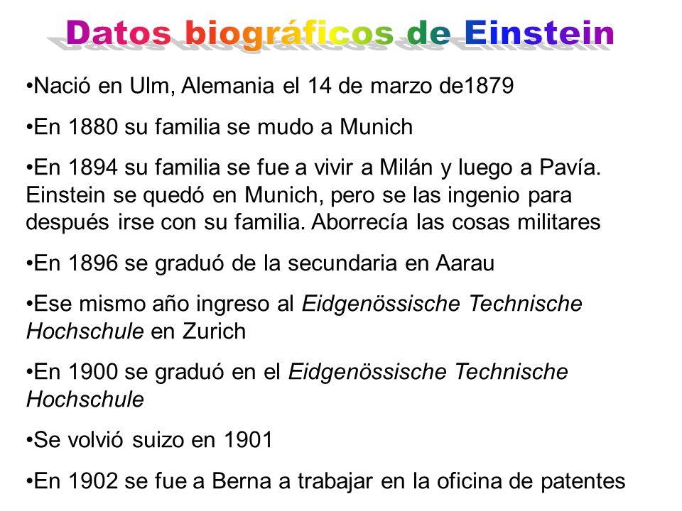 Nació en Ulm, Alemania el 14 de marzo de1879 En 1880 su familia se mudo a Munich En 1894 su familia se fue a vivir a Milán y luego a Pavía. Einstein s