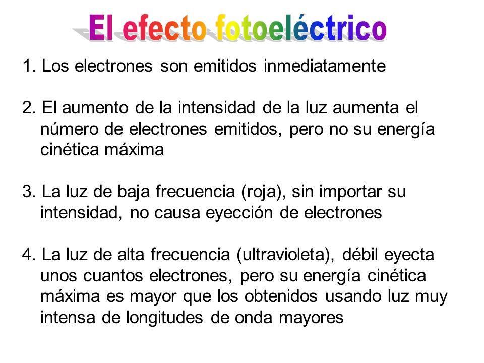 1. Los electrones son emitidos inmediatamente 2. El aumento de la intensidad de la luz aumenta el número de electrones emitidos, pero no su energía ci