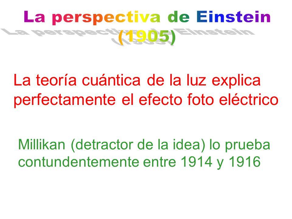 La teoría cuántica de la luz explica perfectamente el efecto foto eléctrico Millikan (detractor de la idea) lo prueba contundentemente entre 1914 y 19