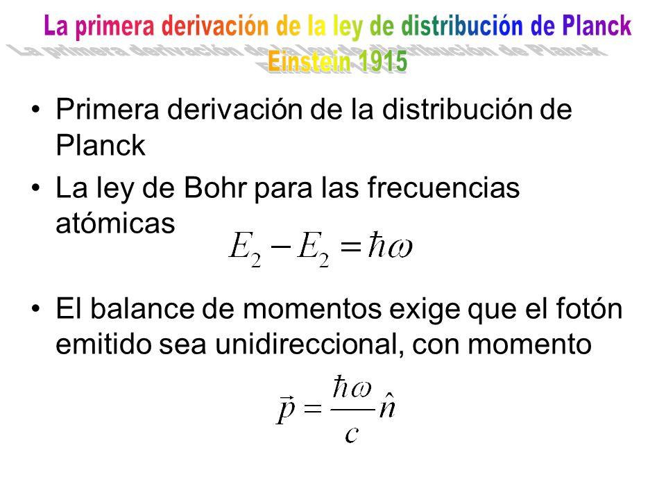 Primera derivación de la distribución de Planck La ley de Bohr para las frecuencias atómicas El balance de momentos exige que el fotón emitido sea uni