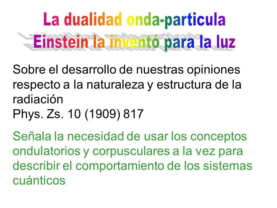 Sobre el desarrollo de nuestras opiniones respecto a la naturaleza y estructura de la radiación Phys. Zs. 10 (1909) 817 Señala la necesidad de usar lo