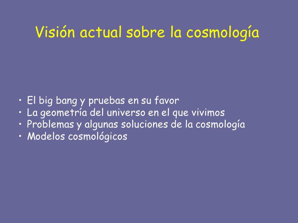 Visión actual sobre la cosmología El big bang y pruebas en su favor La geometría del universo en el que vivimos Problemas y algunas soluciones de la c