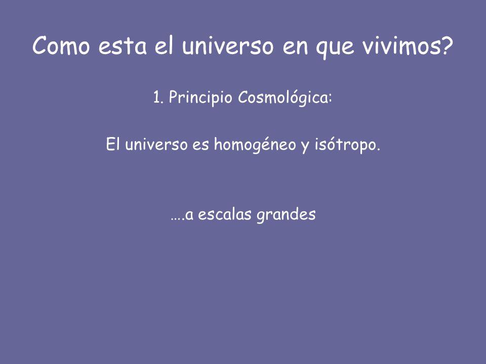 Como esta el universo en que vivimos? 1. Principio Cosmológica: El universo es homogéneo y isótropo. ….a escalas grandes