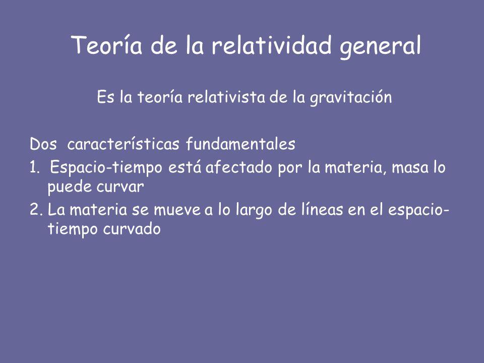 Teoría de la relatividad general Es la teoría relativista de la gravitación Dos características fundamentales 1. Espacio-tiempo está afectado por la m