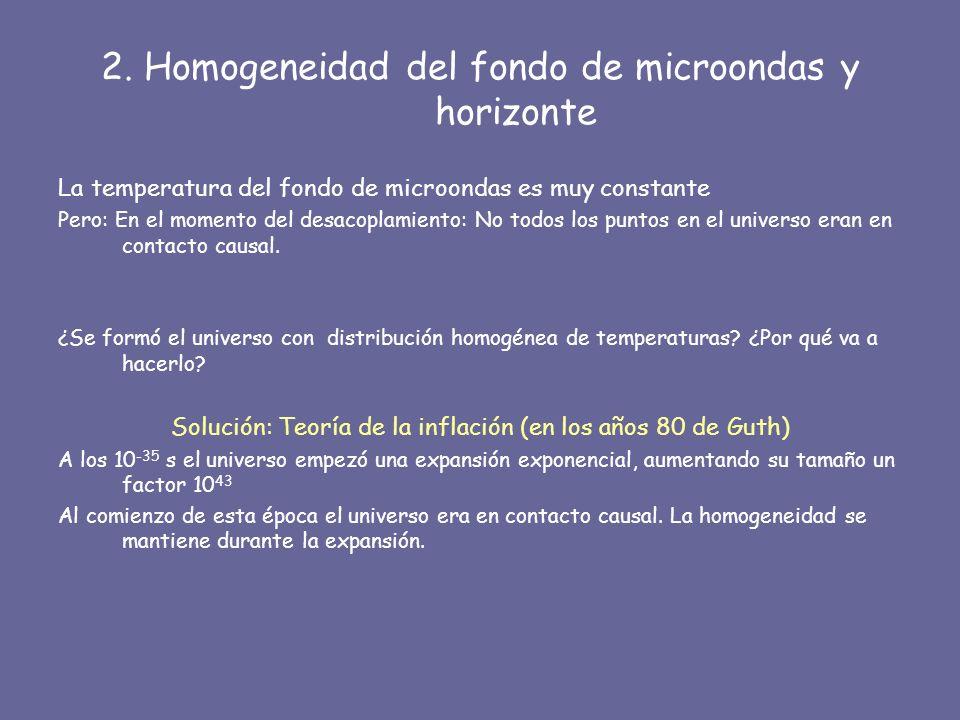 2. Homogeneidad del fondo de microondas y horizonte La temperatura del fondo de microondas es muy constante Pero: En el momento del desacoplamiento: N