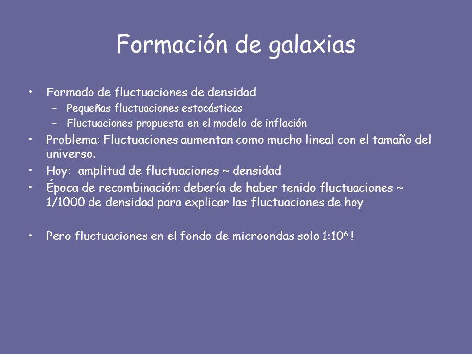 Formación de galaxias Formado de fluctuaciones de densidad –Pequeñas fluctuaciones estocásticas –Fluctuaciones propuesta en el modelo de inflación Pro
