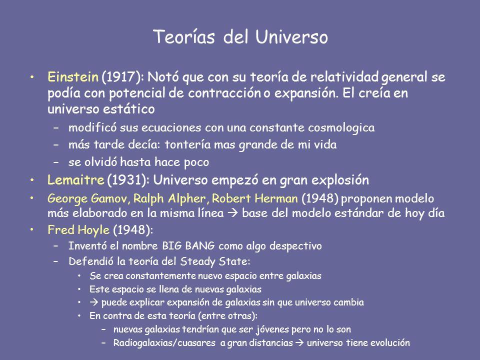 Teorías del Universo Einstein (1917): Notó que con su teoría de relatividad general se podía con potencial de contracción o expansión. El creía en uni