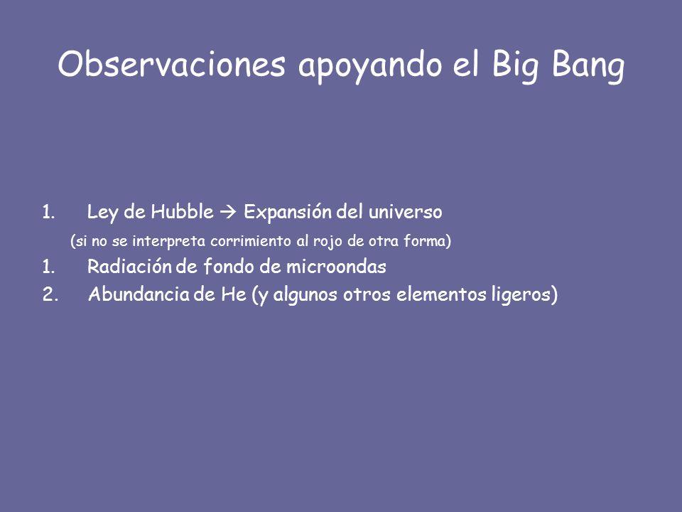 Observaciones apoyando el Big Bang 1.Ley de Hubble Expansión del universo (si no se interpreta corrimiento al rojo de otra forma) 1.Radiación de fondo