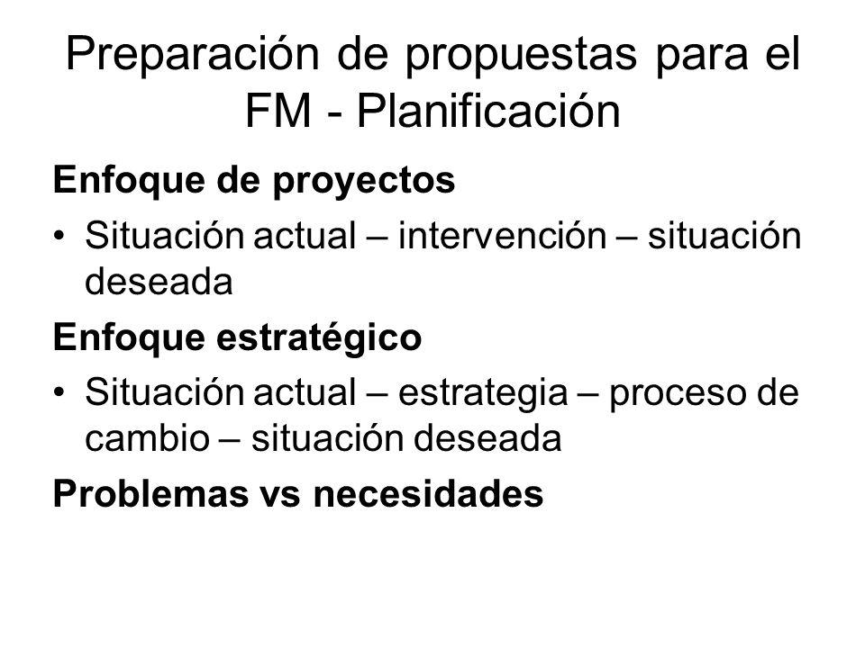 Preparación de propuestas para el FM - Planificación Enfoque de proyectos Situación actual – intervención – situación deseada Enfoque estratégico Situación actual – estrategia – proceso de cambio – situación deseada Problemas vs necesidades