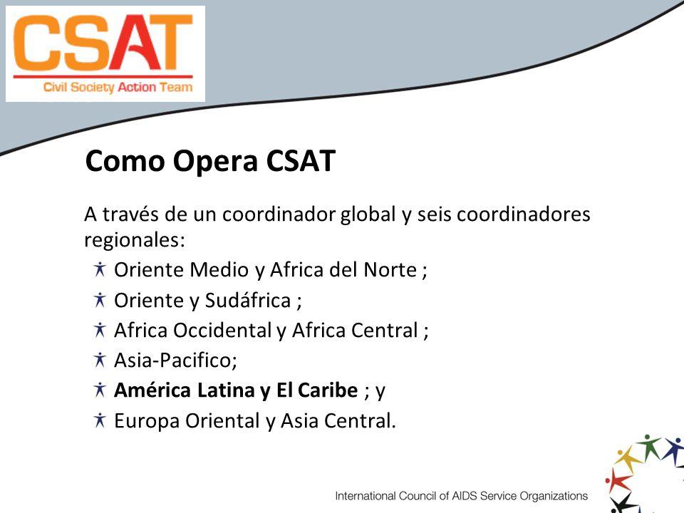 Como Opera CSAT A través de un coordinador global y seis coordinadores regionales: Oriente Medio y Africa del Norte ; Oriente y Sudáfrica ; Africa Occ