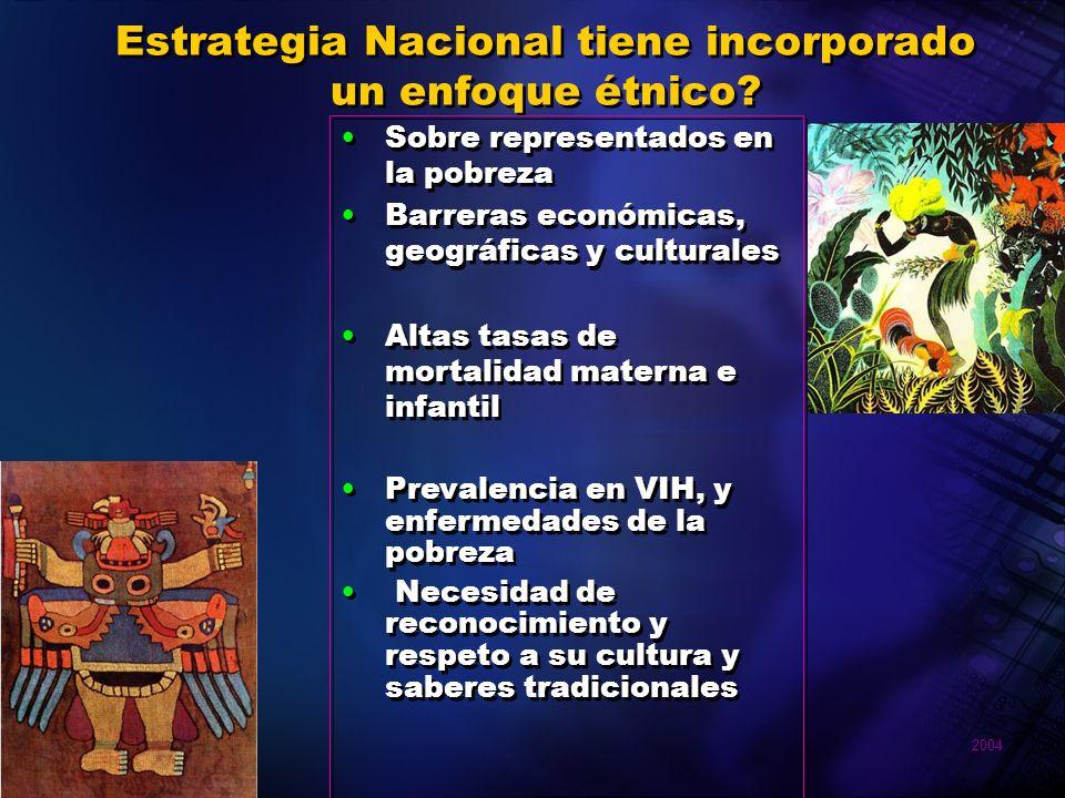 2004 Pan American Health Organization Estrategia Nacional tiene incorporado un enfoque étnico? Sobre representados en la pobreza Barreras económicas,