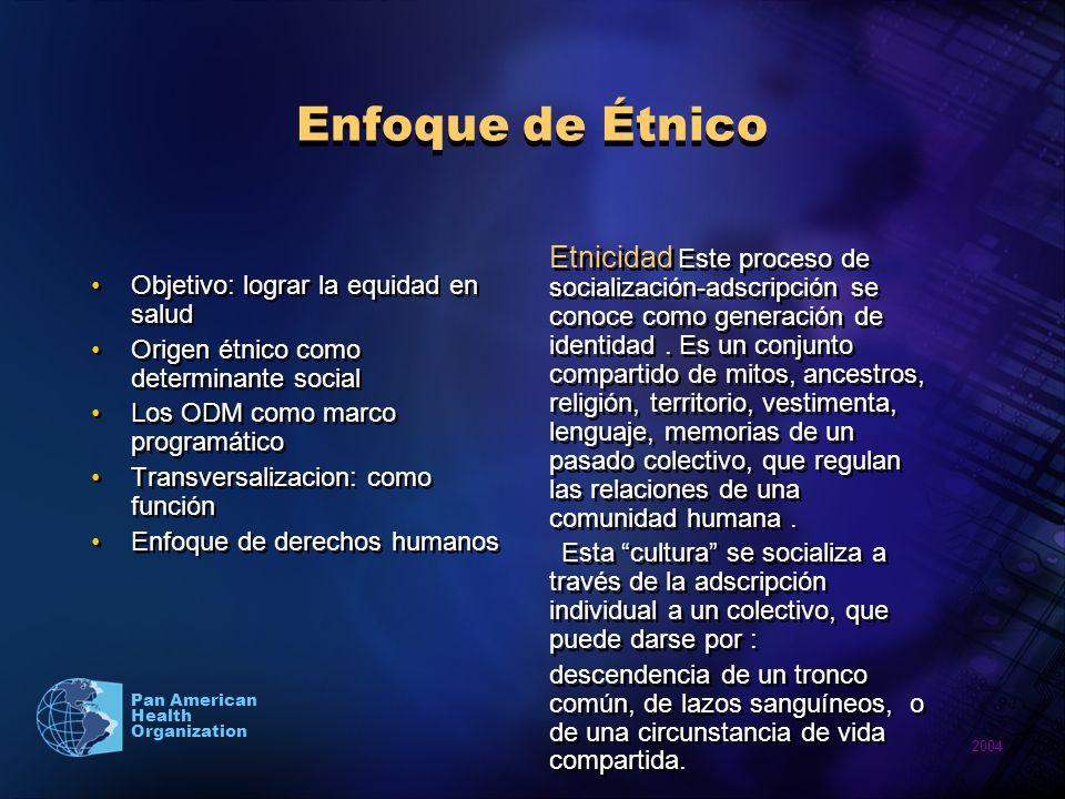 2004 Pan American Health Organization Enfoque de Étnico Objetivo: lograr la equidad en salud Origen étnico como determinante social Los ODM como marco