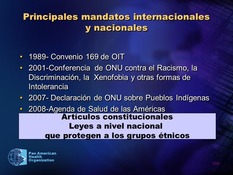 2004 Pan American Health Organization Principales mandatos internacionales y nacionales 1989- Convenio 169 de OIT 2001-Conferencia de ONU contra el Ra
