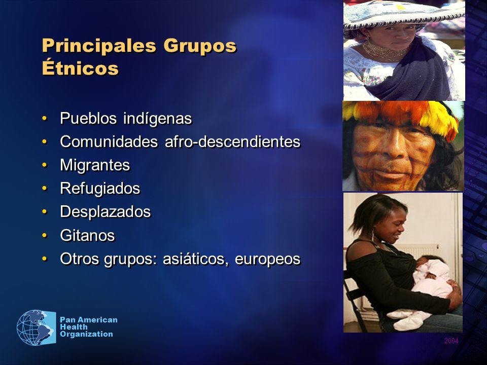 2004 Pan American Health Organization Principales Grupos Étnicos Pueblos indígenas Comunidades afro-descendientes Migrantes Refugiados Desplazados Git