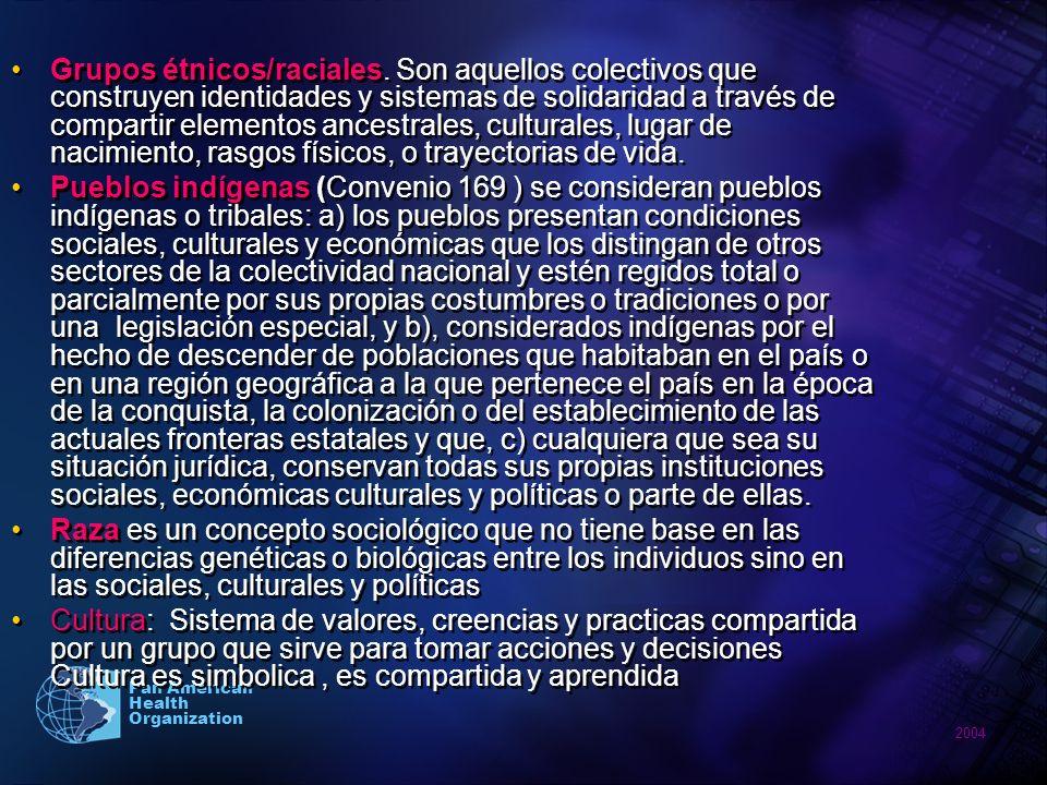 2004 Pan American Health Organization Grupos étnicos/raciales. Son aquellos colectivos que construyen identidades y sistemas de solidaridad a través d