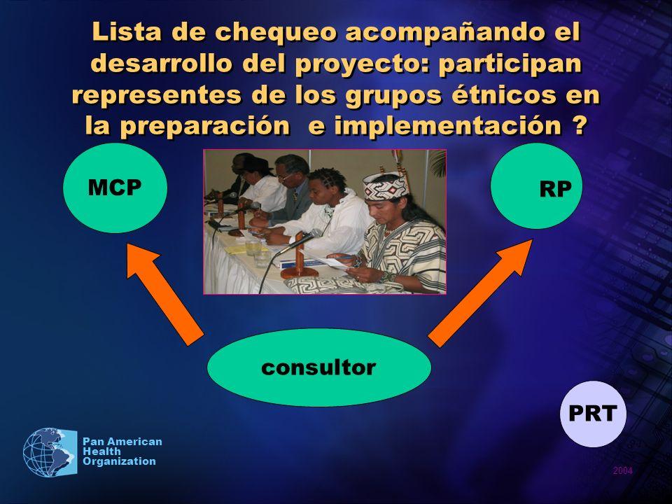 2004 Pan American Health Organization Lista de chequeo acompañando el desarrollo del proyecto: participan representes de los grupos étnicos en la prep