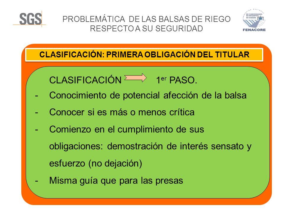PROBLEMÁTICA DE LAS BALSAS DE RIEGO RESPECTO A SU SEGURIDAD CLASIFICACIÓN: PRIMERA OBLIGACIÓN DEL TITULAR CLASIFICACIÓN 1 er PASO. -Conocimiento de po