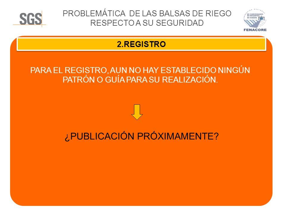 PROBLEMÁTICA DE LAS BALSAS DE RIEGO RESPECTO A SU SEGURIDAD 2.REGISTRO PARA EL REGISTRO, AUN NO HAY ESTABLECIDO NINGÚN PATRÓN O GUÍA PARA SU REALIZACI