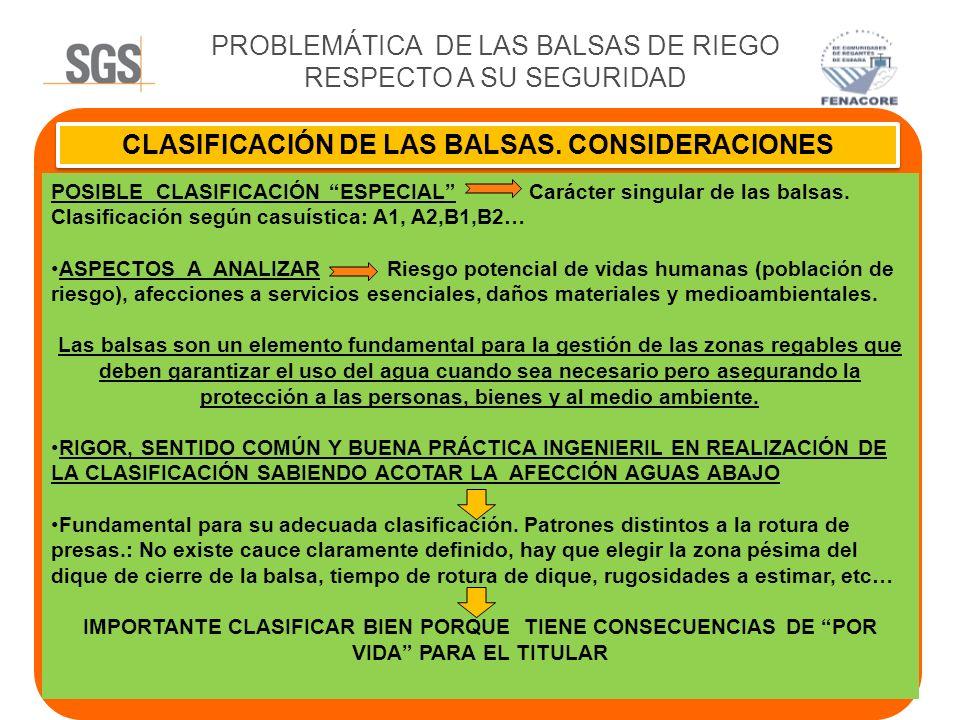 PROBLEMÁTICA DE LAS BALSAS DE RIEGO RESPECTO A SU SEGURIDAD CLASIFICACIÓN DE LAS BALSAS. CONSIDERACIONES POSIBLE CLASIFICACIÓN ESPECIAL Carácter singu